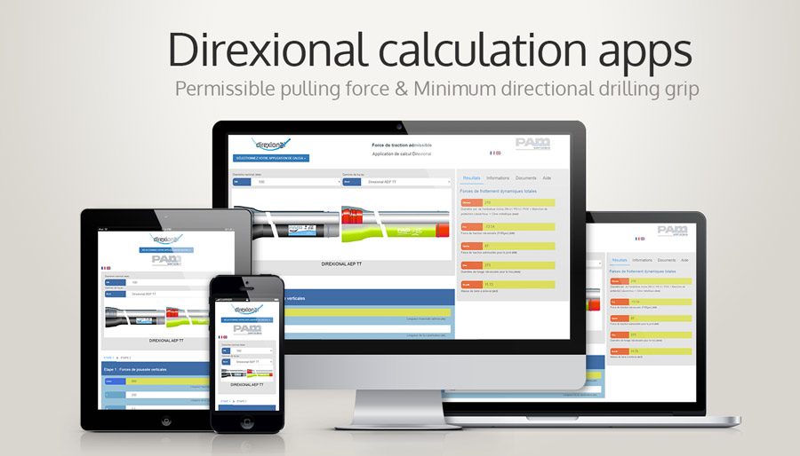 Calculation apps for trenchless pipe laying, ductile iron
