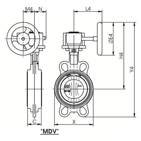 Concentric Butterfly Valve type WAFER Series S20 DN40-1200