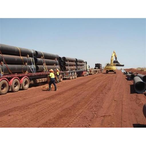 offloading, delivery of pipes